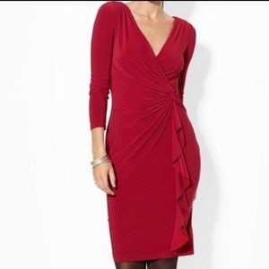 Ralph Lauren Red Wrap Ruffle 3/4 Sleeve Midi Dress